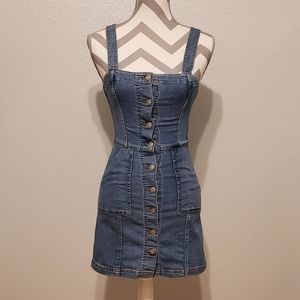 H&M DIVIDED DENIM JUMPER DRESS